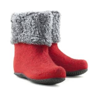 Short felt boots red